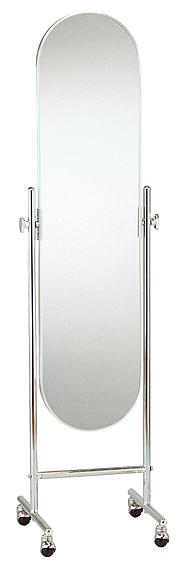 ベストセラーの日本製 高品質 業務用の姿見 キャスター 鏡 スタンドミラー キャスター 姿見 キャスター付き 姿見 ミラー 全身 移動 移動式 国産 ミラー スタンド 小判型 姿見鏡 おしゃれ 角度調整(クローム シルバー 銀 銀色)