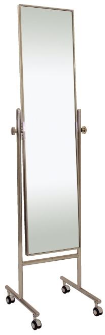 ベストセラーの日本製 高品質 業務用の姿見 キャスター 鏡 スタンドミラー キャスター 姿見 キャスター付き 姿見 ミラー 全身 移動 移動式 国産 ミラー スタンド 角型 姿見鏡 おしゃれ 角度調整(ニッケルサテン シルバー 銀 銀色)