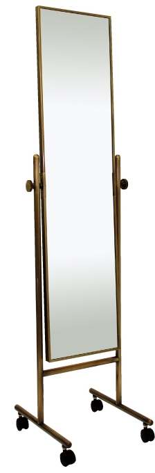 ベストセラーの日本製 高品質 業務用の姿見 キャスター 鏡 スタンドミラー キャスター 姿見 キャスター付き 姿見 ミラー 全身 移動 移動式 国産 ミラー スタンド 角型 姿見鏡 おしゃれ 角度調整(古美色 アンティーク色)