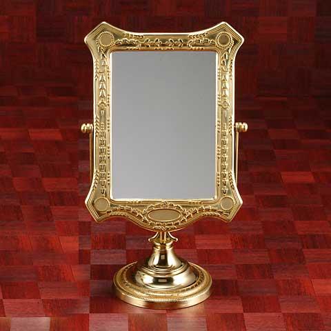 鏡 ミラー 卓上鏡 卓上ミラー スタンドミラー ミラースタンド スタンド メーキャップミラー 化粧鏡 コスメミラー 真鍮 ブラス g-6g7070k1(片面鏡)