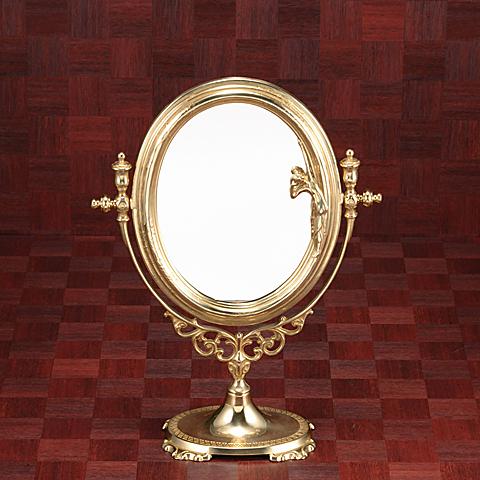 鏡 ミラー 卓上鏡 卓上ミラー スタンドミラー ミラースタンド スタンド メーキャップミラー 化粧鏡 コスメミラー 真鍮 ブラス g-6g7070k3(片面鏡)