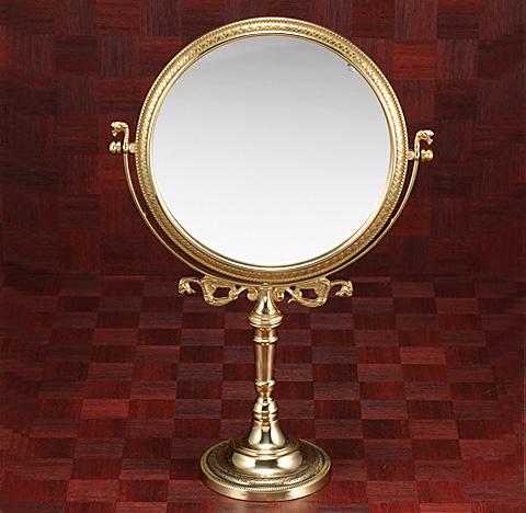 鏡 ミラー 卓上鏡 卓上ミラー スタンドミラー ミラースタンド スタンド メーキャップミラー 化粧鏡 コスメミラー 真鍮 ブラス g-6g7070k2(片面鏡)
