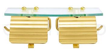 ペーパーホルダー 真鍮 トイレ トイレットペーパーホルダー トイレペーパーホルダー ペーパーホルダーカバー ロールペーパーホルダー(ヨコ2連 ガラス棚付き):g-6g4071k3-ki:鏡 ミラー 洗面 インテリア IVY