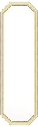 鏡 ミラー 壁掛け鏡 壁掛けミラー ウオールミラー:フェミニン アイボリー 八角形鏡356mmx1256mm(フレームミラー 壁掛け 壁付け 姿見 姿見鏡 壁 おしゃれ エレガント 化粧鏡 アンティーク 玄関 玄関鏡 洗面所 トイレ 寝室 額 フレーム 額縁 )