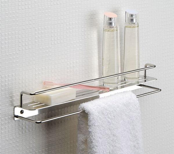 浴室でも使えるシェルフ メタルシェルフ シェルフ 洗面 洗面所 浴室 バスルーム バス ラック 棚板 壁掛け 棚 収納 壁面収納 デザイン サニタリー・シェルフ トイレ・洗面の棚 化粧棚(タオルハンガー兼用):HR-Rr9101T-40c0