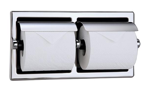 2連 ダブル ペーパーホルダー トイレ トイレットペーパーホルダー アンティーク トイレペーパーホルダー ペーパーホルダーカバー ロールペーパーホルダー(ヨコ 2連 半埋込型):HR-Rr198c6-S