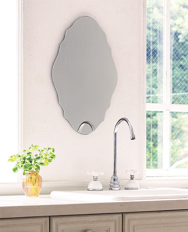 ガラスアート の 鏡 ミラー 壁掛け鏡 壁掛けミラー ウオールミラー:AaI-6r10(フレームレスミラー 壁掛け 壁付け 姿見 姿見鏡 壁 おしゃれ エレガント 化粧鏡 玄関 玄関鏡 洗面所 トイレ 寝室 ノンフレーム ノーフレーム)