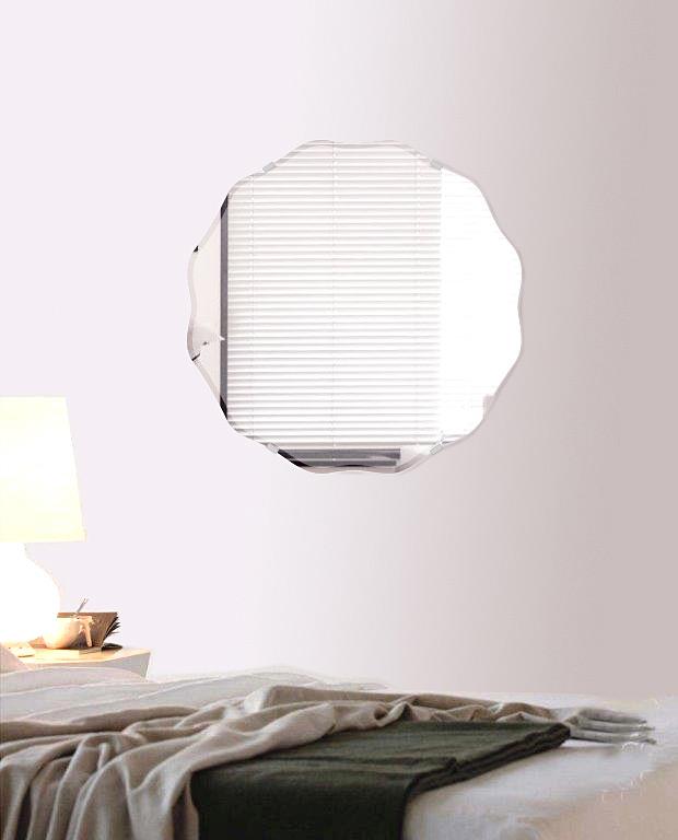 鏡 壁掛け 鏡 ミラー 壁掛け クリスタルミラーシリーズ(一般空間用):c-circlewave450x450-9mm(サークル ウエーブ)(クリアーミラー クリスタルカットタイプ)( 鏡 壁掛け 鏡 姿見 壁掛けミラー ウォールミラー )