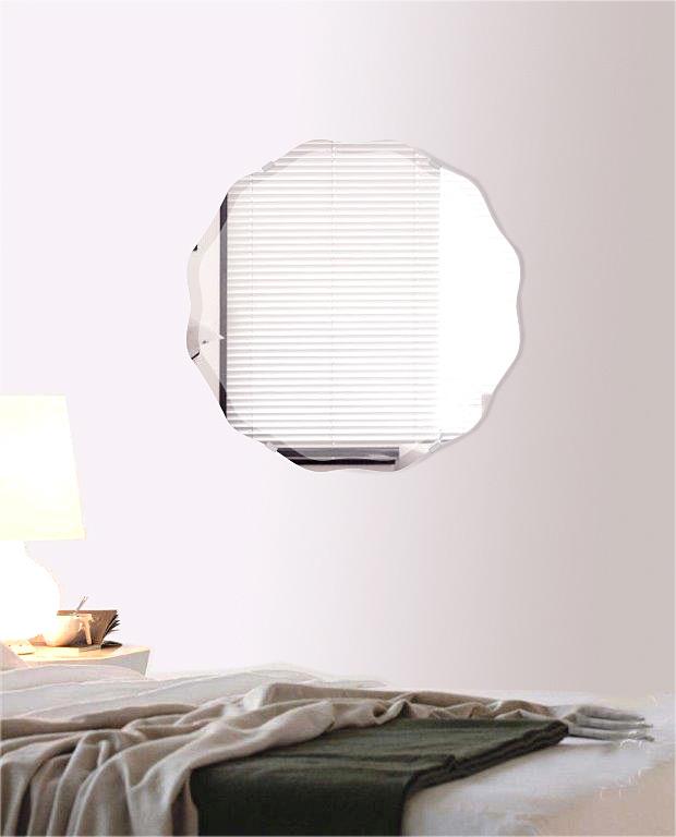 クリスタル ミラー 450x450mm サークル ウエーブ デラックスカット 鏡 壁掛け ミラー 壁掛け 日本製 5mm厚 玄関 リビング 寝室 トイレ 取付金具と説明書 壁掛け鏡 壁に直付け ウオールミラー 姿見 全身 おしゃれ 軽量 正円形 波型 波 ウェーブ
