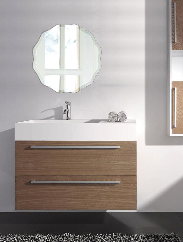 トイレ鏡 洗面鏡 化粧鏡 浴室鏡 クリスタルミラー シリーズ:cdx-circlewave450x450-18mm(サークル ウエーブ)(クリアーミラー デラックスカットタイプ)( 鏡 壁掛け 鏡 姿見 壁掛けミラー ウォールミラー )
