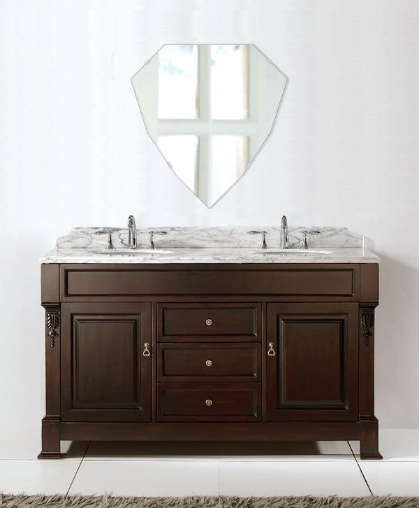 洗面鏡 浴室鏡 トイレ鏡 化粧鏡 日本製 シールド(盾形) 450mm×470mm クリアーミラー シンプルタイプ 国産 フレームレスミラー 風呂 鏡 壁掛け鏡 壁掛けミラー ウオールミラー 姿見 姿見鏡 ミラー