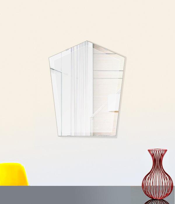 鏡 壁掛け 鏡 ミラー 日本製 ファンシーブリット 400mm×500mm クリアーミラー デラックスカット 国産 フレームレスミラー 壁掛け鏡 壁掛けミラー ウォールミラー 姿見 姿見鏡 インテリアミラー (リビング、玄関、廊下、寝室など一般空間用)