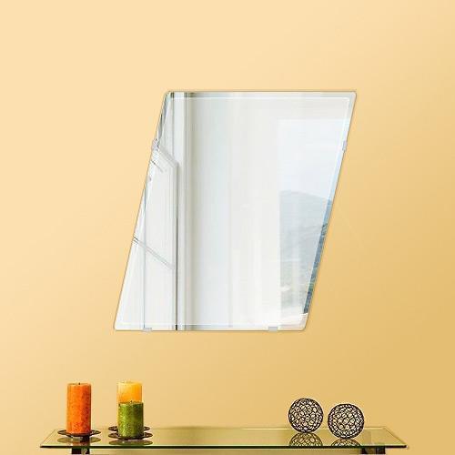 鏡 壁掛け 鏡 ミラー 日本製 ロンボイド 400mm×500mm クリアーミラー クリスタルカット 国産 フレームレスミラー 壁掛け鏡 壁掛けミラー ウォールミラー 姿見 姿見鏡 インテリアミラー (リビング、玄関、廊下、寝室など一般空間用)