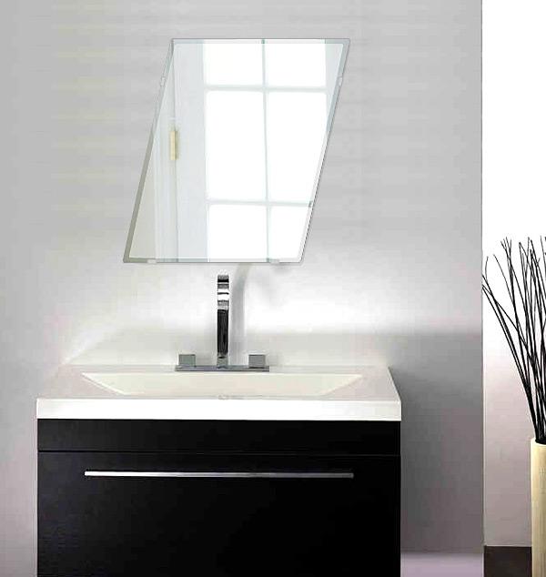 洗面鏡 浴室鏡 トイレ鏡 化粧鏡 日本製 ロンボイド 400mm×500mm クリアーミラー クリスタルカット 国産 フレームレスミラー 風呂 鏡 壁掛け鏡 壁掛けミラー ウオールミラー 姿見 姿見鏡 ミラー