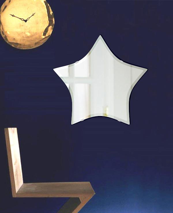 鏡 壁掛け 鏡 ミラー 日本製 スター(星形) 550mm×520mm クリアーミラー クリスタルカット 国産 フレームレスミラー 壁掛け鏡 壁掛けミラー ウォールミラー 姿見 姿見鏡 インテリアミラー (リビング、玄関、廊下、寝室など一般空間用)