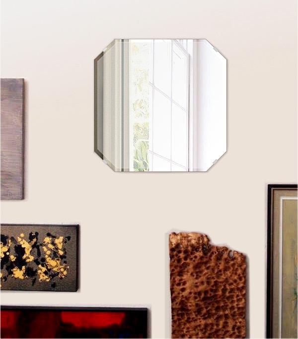 鏡 壁掛け 鏡 ミラー 日本製 高透過 超透明鏡 スクエア・エメラルド 450mm×450mm スーパークリアーミラー クリスタルカット 国産 フレームレスミラー 壁掛け鏡 壁掛けミラー ウォールミラー 姿見 姿見鏡 インテリアミラー (リビング、玄関、廊下、寝室など一般空間用)