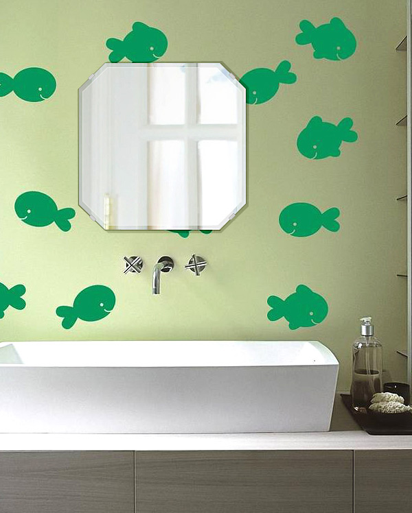 洗面鏡 浴室鏡 トイレ鏡 化粧鏡 日本製 スクエア・エメラルド 450mm×450mm クリアーミラー クリスタルカット 国産 フレームレスミラー 風呂 鏡 壁掛け鏡 壁掛けミラー ウオールミラー 姿見 姿見鏡 ミラー