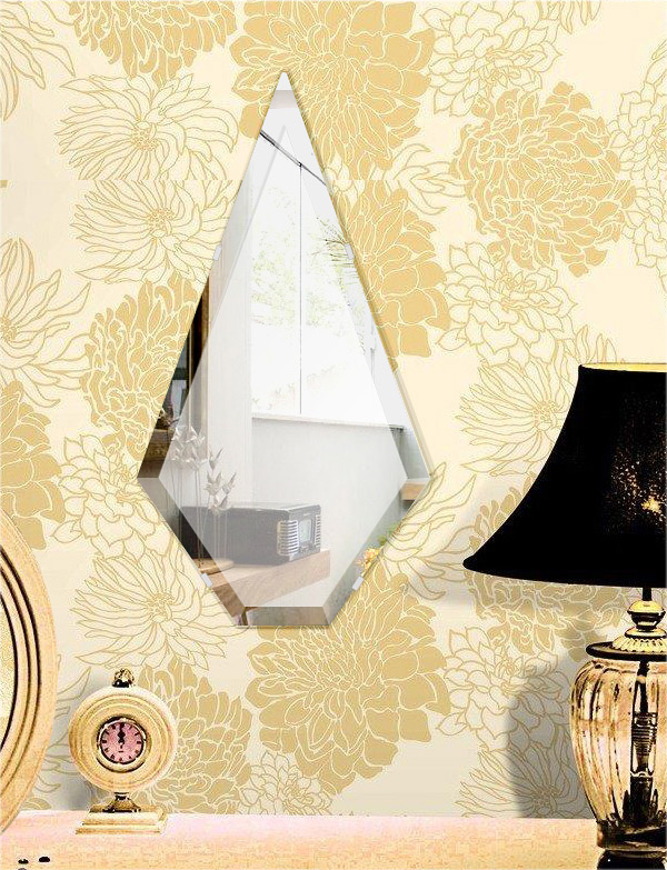 鏡 壁掛け 鏡 ミラー 日本製 高透過 超透明鏡 ピナクル(尖塔形) 320mm×600mm スーパークリアーミラー デラックスカット 国産 フレームレスミラー 壁掛け鏡 壁掛けミラー ウォールミラー 姿見 姿見鏡 インテリアミラー (リビング、玄関、廊下、寝室など一般空間用)