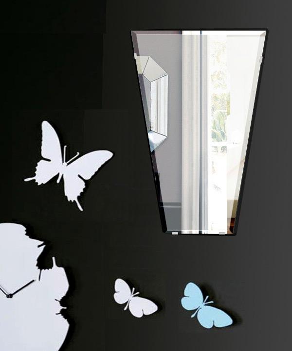 鏡 壁掛け 鏡 ミラー 日本製 テーパードバゲット 400mm×600mm クリアーミラー クリスタルカット 国産 フレームレスミラー 壁掛け鏡 壁掛けミラー ウォールミラー 姿見 姿見鏡 インテリアミラー (リビング、玄関、廊下、寝室など一般空間用)