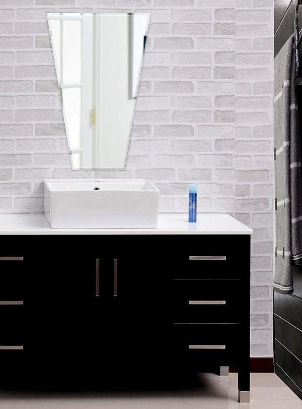 洗面鏡 浴室鏡 トイレ鏡 化粧鏡 日本製 テーパードバゲット 400mm×600mm クリアーミラー クリスタルカット 国産 フレームレスミラー 風呂 鏡 壁掛け鏡 壁掛けミラー ウオールミラー 姿見 姿見鏡 ミラー