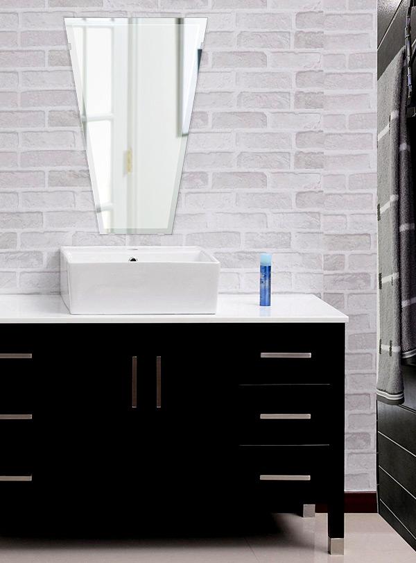 洗面鏡 浴室鏡 トイレ鏡 化粧鏡 日本製 高透過 超透明鏡 テーパードバゲット 400mm×600mm スーパークリアーミラー デラックスカット 国産 フレームレスミラー 風呂 鏡 壁掛け鏡 壁掛けミラー ウオールミラー 姿見 姿見鏡 ミラー