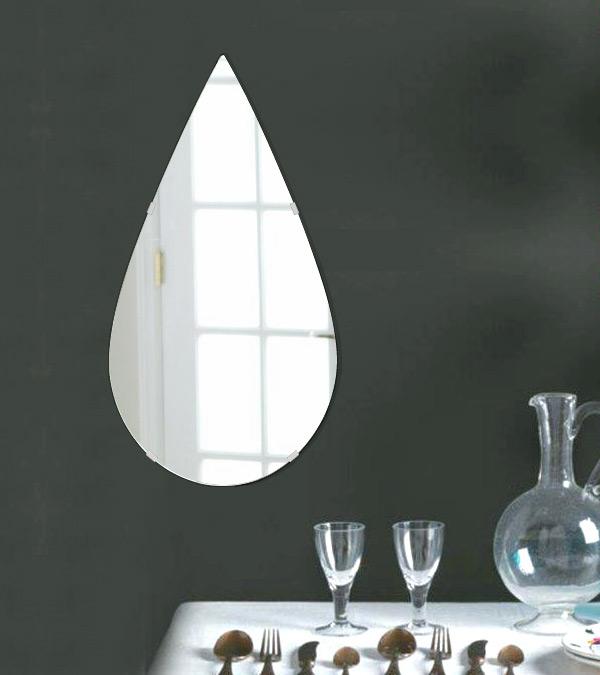 鏡 壁掛け 鏡 ミラー 日本製 ティアドロップ(涙の雫の形)320mm×600mm クリアーミラー シンプルタイプ 国産 フレームレスミラー 壁掛け鏡 壁掛けミラー ウォールミラー 姿見 姿見鏡 インテリアミラー (リビング、玄関、廊下、寝室など一般空間用)