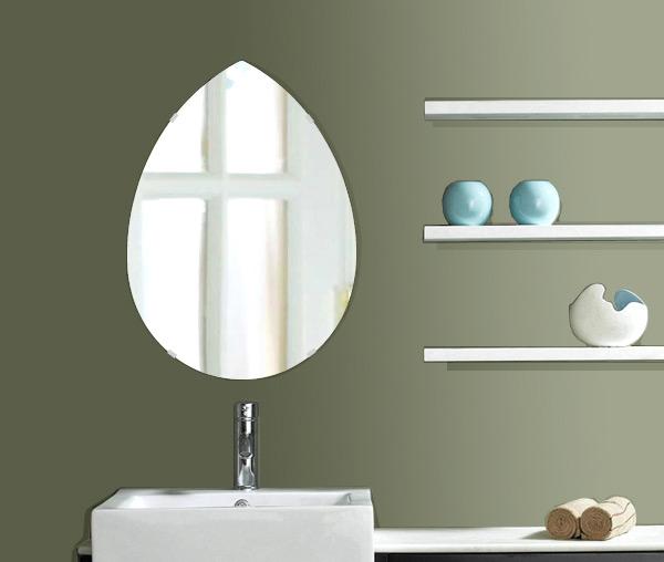 飛散防止加工 鏡 ミラー 高透過 超透明鏡 安心 安全 クリスタルミラー シリーズ スーパークリアーミラー・シンプルタイプ、ペア(Pear):scdx-pear430x600-km-HSアイビーオリジナル 洗面 浴室 風呂 トイレ 鏡 ミラー