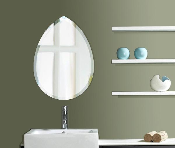 洗面鏡 浴室鏡 トイレ鏡 化粧鏡 日本製 ペア(洋梨形) 430mm×600mm クリアーミラー デラックスカット 国産 フレームレスミラー 風呂 鏡 壁掛け鏡 壁掛けミラー ウオールミラー 姿見 姿見鏡 ミラー