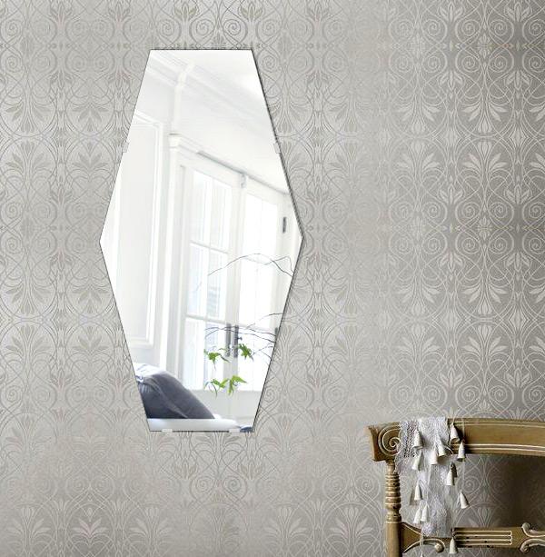 トイレ 鏡 320x600mm イレギュラーヘキサゴン シンプルカット トイレ鏡 鏡 トイレ 壁掛け ミラー 壁掛け 日本製 5mm厚 取付金具と説明書 壁掛け鏡 壁に直付け ウオールミラー 姿見 鏡 全身 おしゃれ 軽量 六角 六角形 ヘキサゴン