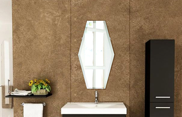 洗面鏡 浴室鏡 トイレ鏡 化粧鏡 日本製 高透過 超透明鏡 イレギュラーへキサゴン 六角形 鏡 320mm×600mm スーパークリアーミラー デラックスカット 国産 フレームレスミラー 風呂 鏡 壁掛け鏡 壁掛けミラー ウオールミラー 姿見 姿見鏡 ミラー