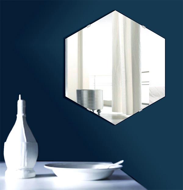 鏡 六角形 390x450mm シンプルカット 日本製 鏡 壁掛け ミラー 壁掛け 5mm厚 取付金具と説明書 壁掛け鏡 壁に直付け ウオールミラー 姿見 鏡 全身 おしゃれ 軽量 (6角 六角 ヘキサゴン 六角鏡)