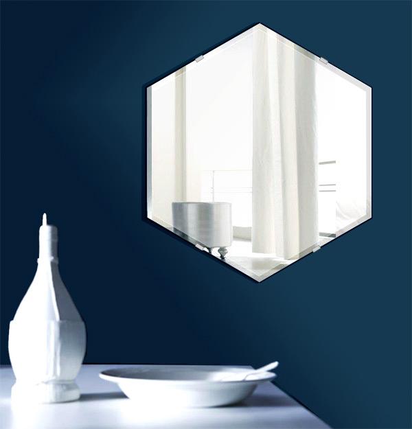 飛散防止加工 鏡 ミラー 安心 安全 クリスタルミラーシリーズ(一般空間用):c-hexagon390x450-9mm-HS(ヘキサゴン)(クリアーミラー クリスタルカットタイプ)日本製 アイビーオリジナル 壁掛け鏡 ウォールミラー 姿見 鏡 専用取付金具付き