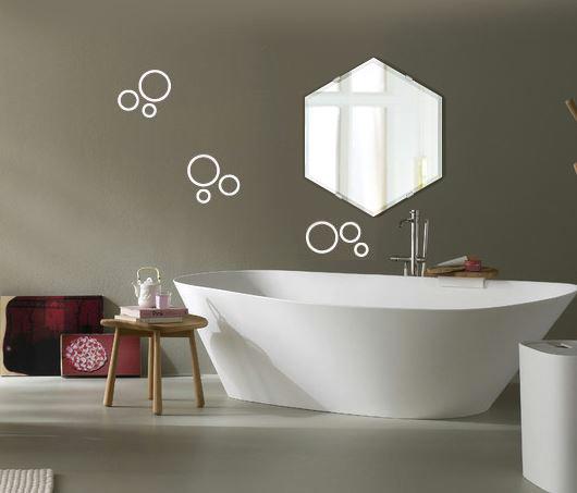 洗面鏡 浴室鏡 トイレ鏡 化粧鏡 日本製 へキサゴン 六角形 鏡 390mm×450mm クリアーミラー クリスタルカット 国産 フレームレスミラー 風呂 鏡 壁掛け鏡 壁掛けミラー ウオールミラー 姿見 姿見鏡 ミラー