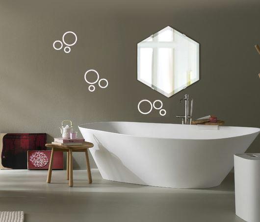 洗面鏡 浴室鏡 トイレ鏡 化粧鏡 日本製 高透過 超透明鏡 へキサゴン 六角形 鏡 390mm×450mm クリアーミラー デラックスカット 国産 フレームレスミラー 風呂 鏡 壁掛け鏡 壁掛けミラー ウオールミラー 姿見 姿見鏡 ミラー