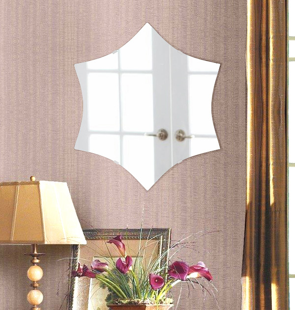 鏡 六角形 480x550mm シンプルカット 日本製 鏡 壁掛け ミラー 壁掛け 5mm厚 取付金具と説明書 壁掛け鏡 壁に直付け ウオールミラー 姿見 鏡 全身 おしゃれ 軽量 (6角 六角 ヘキサゴン 六角鏡)
