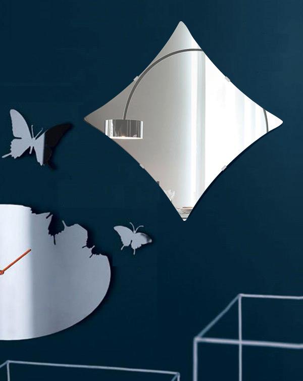 トイレ 鏡 500x500mm ダイヤモンド シンプルカット トイレ鏡 鏡 トイレ 壁掛け ミラー 壁掛け 日本製 5mm厚 取付金具と説明書 壁掛け鏡 壁に直付け ウオールミラー 姿見 鏡 全身 おしゃれ 軽量 ひし形 菱形 宝石