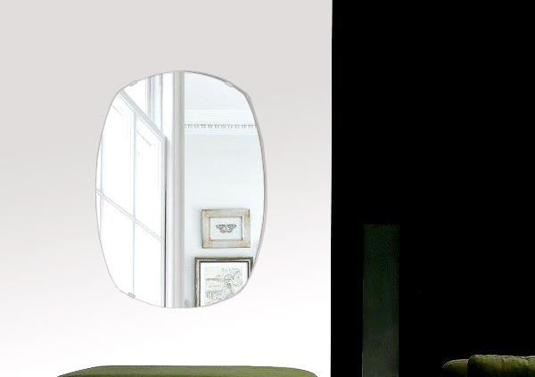 トイレ 鏡 400x560mm クッション シンプルカット トイレ鏡 鏡 トイレ 壁掛け ミラー 壁掛け 日本製 5mm厚 取付金具と説明書 壁掛け鏡 壁に直付け ウオールミラー 姿見 鏡 全身 おしゃれ 軽量 丸み 四角形 宝石