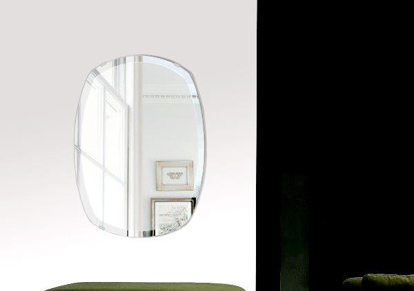 クリスタル ミラー 400x560mm クッション デラックスカット 鏡 壁掛け ミラー 壁掛け 日本製 5mm厚 玄関 リビング 寝室 トイレ 取付金具と説明書 壁掛け鏡 壁に直付け ウオールミラー 姿見 全身 おしゃれ 軽量 丸み 四角形 宝石