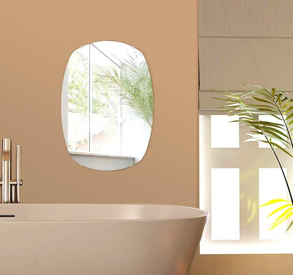 飛散防止加工 鏡 ミラー 高透過 超透明鏡 安心 安全 クリスタルミラー シリーズ:scdx-cushion400x560-km-HS(クッション)(スーパークリアーミラー シンプルタイプ)アイビーオリジナル 洗面 浴室 風呂 トイレ 鏡 ミラー