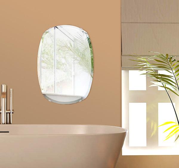 洗面鏡 浴室鏡 トイレ鏡 化粧鏡 日本製 高透過 超透明鏡 クッション 400mm×560mm クリアーミラー デラックスカット 国産 フレームレスミラー 風呂 鏡 壁掛け鏡 壁掛けミラー ウオールミラー 姿見 姿見鏡 ミラー
