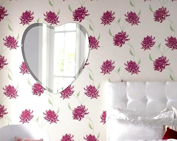 クリスタル ミラー 450x470mm ハート デラックスカット 鏡 壁掛け ミラー 壁掛け 日本製 5mm厚 玄関 リビング 寝室 トイレ 取付金具と説明書 壁掛け鏡 壁に直付け ウオールミラー 姿見 全身 おしゃれ 軽量 ハート形 ハート形状 宝石
