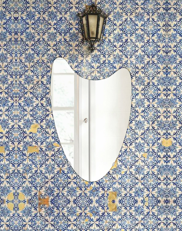トイレ 鏡 400x610mm ウエーブ シンプルカット トイレ鏡 鏡 トイレ 壁掛け ミラー 壁掛け 日本製 5mm厚 取付金具と説明書 壁掛け鏡 壁に直付け ウオールミラー 姿見 鏡 全身 おしゃれ 軽量 波 波形