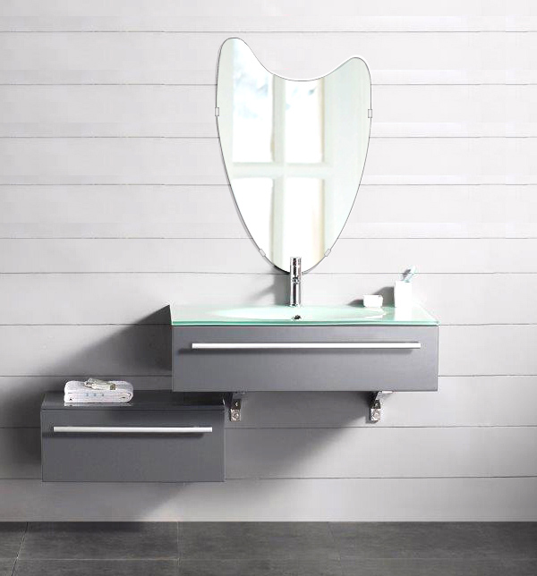 洗面鏡 浴室鏡 トイレ鏡 化粧鏡 日本製 高透過 超透明鏡 ウエーブ(波) 400mm×610mm スーパークリアーミラー シンプルタイプ 国産 フレームレスミラー 風呂 鏡 壁掛け鏡 壁掛けミラー ウオールミラー 姿見 姿見鏡 ミラー