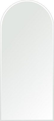 洗面鏡 浴室鏡 トイレ鏡 化粧鏡 日本製 アーチ(天丸形) 450mm×1000mm クリアーミラー クリスタルカット 国産 フレームレスミラー 風呂 鏡 壁掛け鏡 壁掛けミラー ウオールミラー 姿見 姿見鏡 ミラー