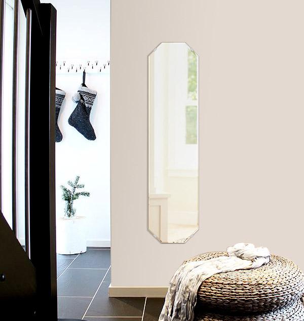 鏡 壁掛け 鏡 ミラー 日本製 高透過 超透明鏡 八角形 鏡 300mm×1200mm スーパークリアーミラー クリスタルカット 国産 フレームレスミラー 壁掛け鏡 壁掛けミラー ウォールミラー 姿見 姿見鏡 インテリアミラー (リビング、玄関、廊下、寝室など一般空間用)