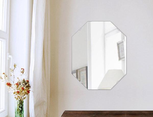 鏡 八角形 400x500mm シンプルカット 日本製 鏡 壁掛け ミラー 壁掛け 5mm厚 取付金具と説明書 壁掛け鏡 壁に直付け ウオールミラー 姿見 鏡 全身 おしゃれ 軽量 (8角 八角 オクタゴン 八角鏡)
