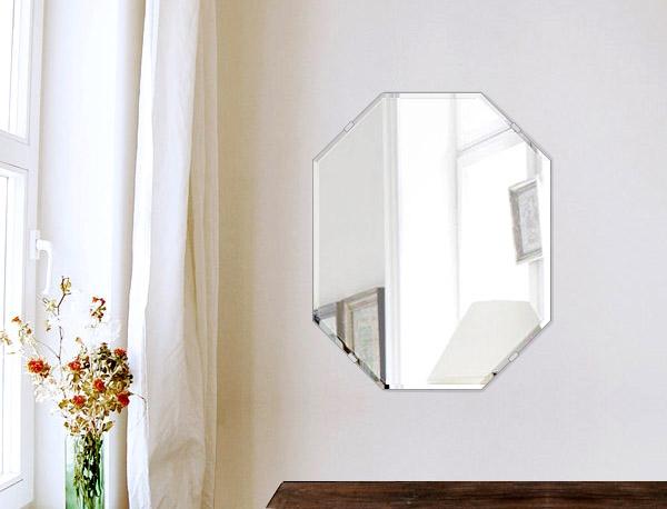 風水鏡 400x500mm 八角形 クリスタルカット 日本製 風水 鏡 八角形 鏡 壁掛け ミラー 壁掛け 5mm厚 取付金具と説明書 壁掛け鏡 壁に直付け ウオールミラー 姿見 鏡 全身 おしゃれ 軽量 (8角 八角 オクタゴン 八角鏡)