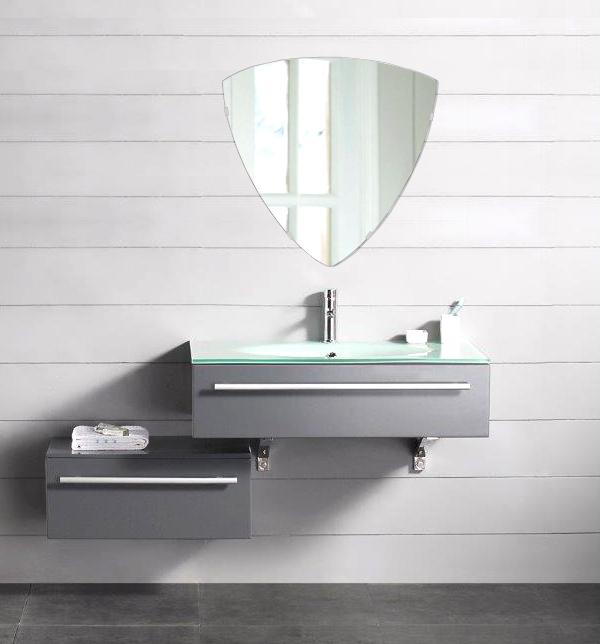 洗面鏡 浴室鏡 トイレ鏡 化粧鏡 日本製 高透過 超透明鏡 トリリアント(三角形) 500mm×490mm スーパークリアーミラー シンプルタイプ 国産 フレームレスミラー 風呂 鏡 壁掛け鏡 壁掛けミラー ウオールミラー 姿見 姿見鏡 ミラー