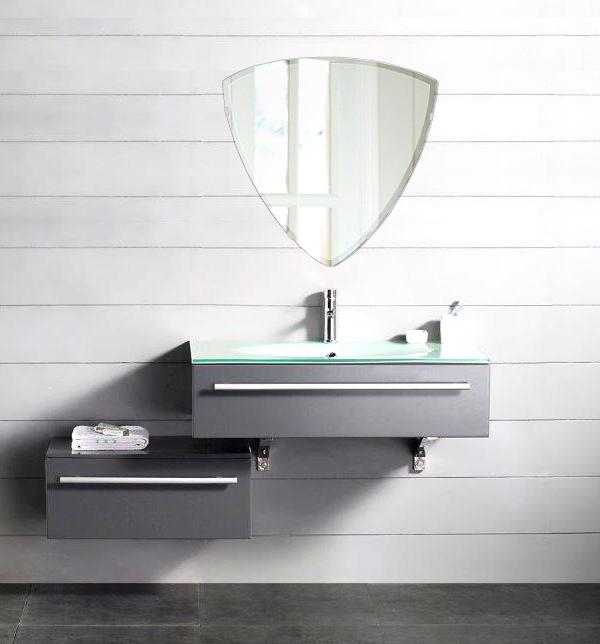 洗面鏡 浴室鏡 トイレ鏡 化粧鏡 日本製 高透過 超透明鏡 トリリアント(三角形) 500mm×490mm スーパークリアーミラー クリスタルカット 国産 フレームレスミラー 風呂 鏡 壁掛け鏡 壁掛けミラー ウオールミラー 姿見 姿見鏡 ミラー