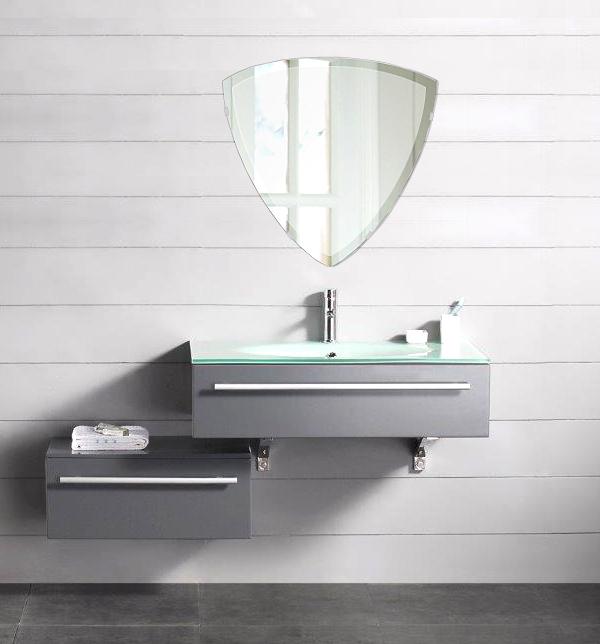 洗面鏡 浴室鏡 トイレ鏡 化粧鏡 日本製 トリリアント(三角形) 500mm×490mm クリアーミラー デラックスカット 国産 フレームレスミラー 風呂 鏡 壁掛け鏡 壁掛けミラー ウオールミラー 姿見 姿見鏡 ミラー